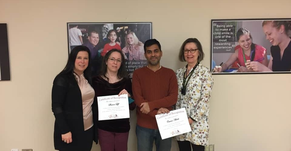 Family Advisory Committee Members with Certificates at Ottawa Children's Treatment Centre