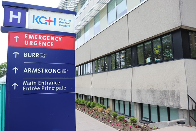 Kingston General Hospital Sign near the hospital building