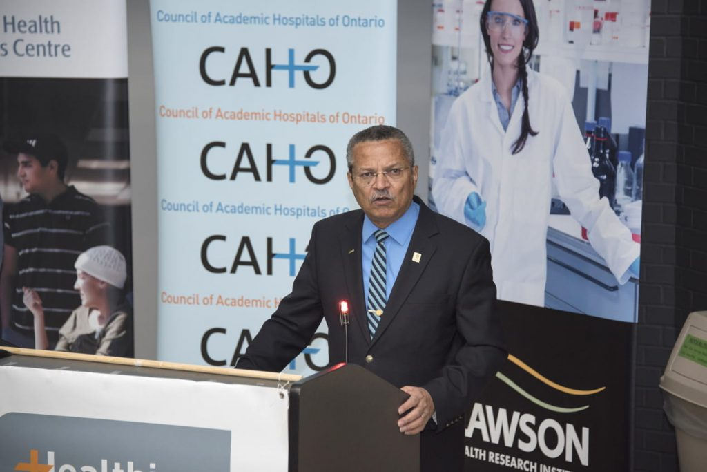 Councillor Harold Usher speaking at London Health Sciences Centre