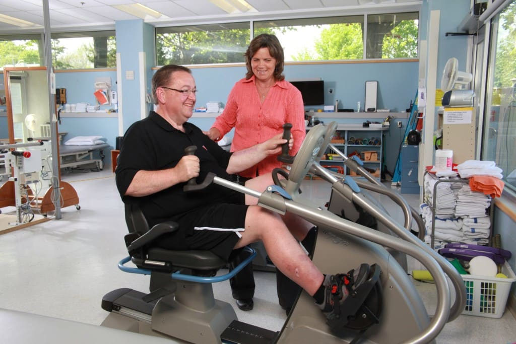 A man receives rehabilitative therapy