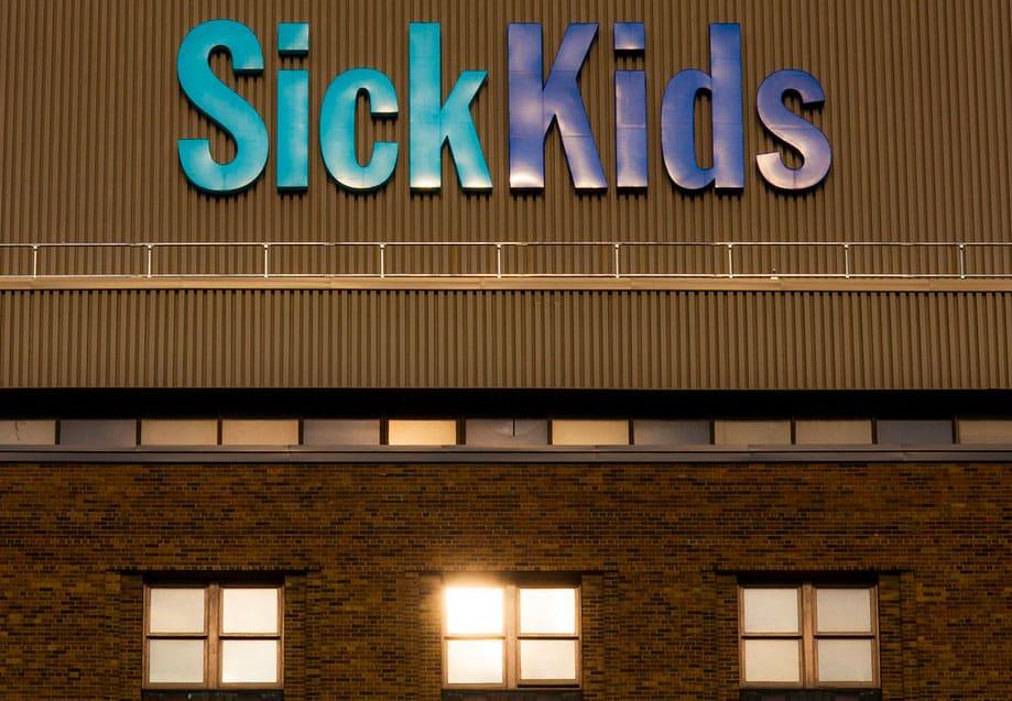 Signage of the medical center SickKids